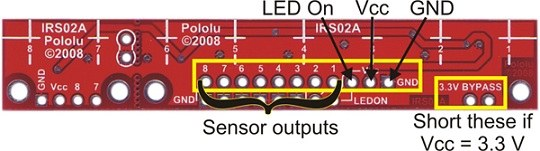 qtr-8a 8′li kızılötesi sensör - analog - pl-960 pin bağlantı şeması 1
